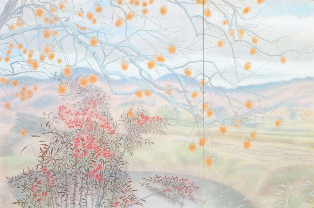 藤井智美「冬空と柿」